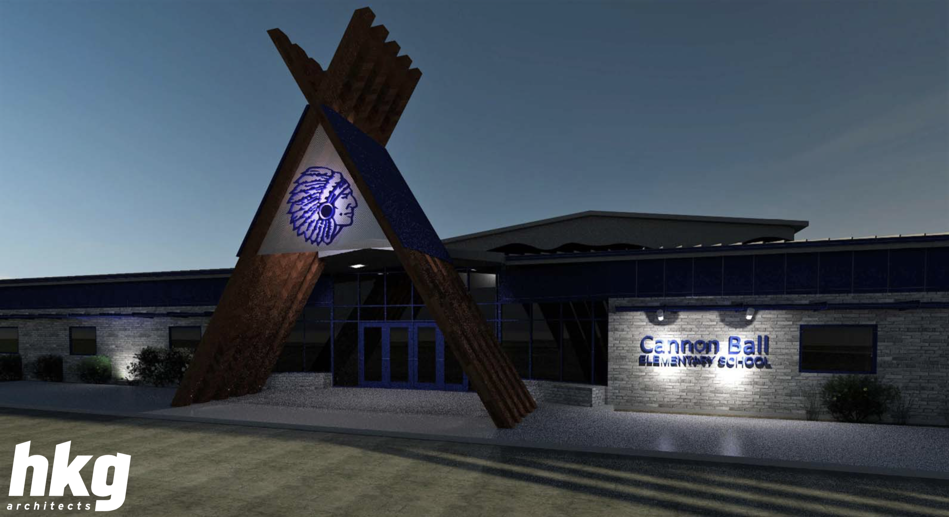 Picture of New Cannon Ball Elementary School Entrance at simulated night.